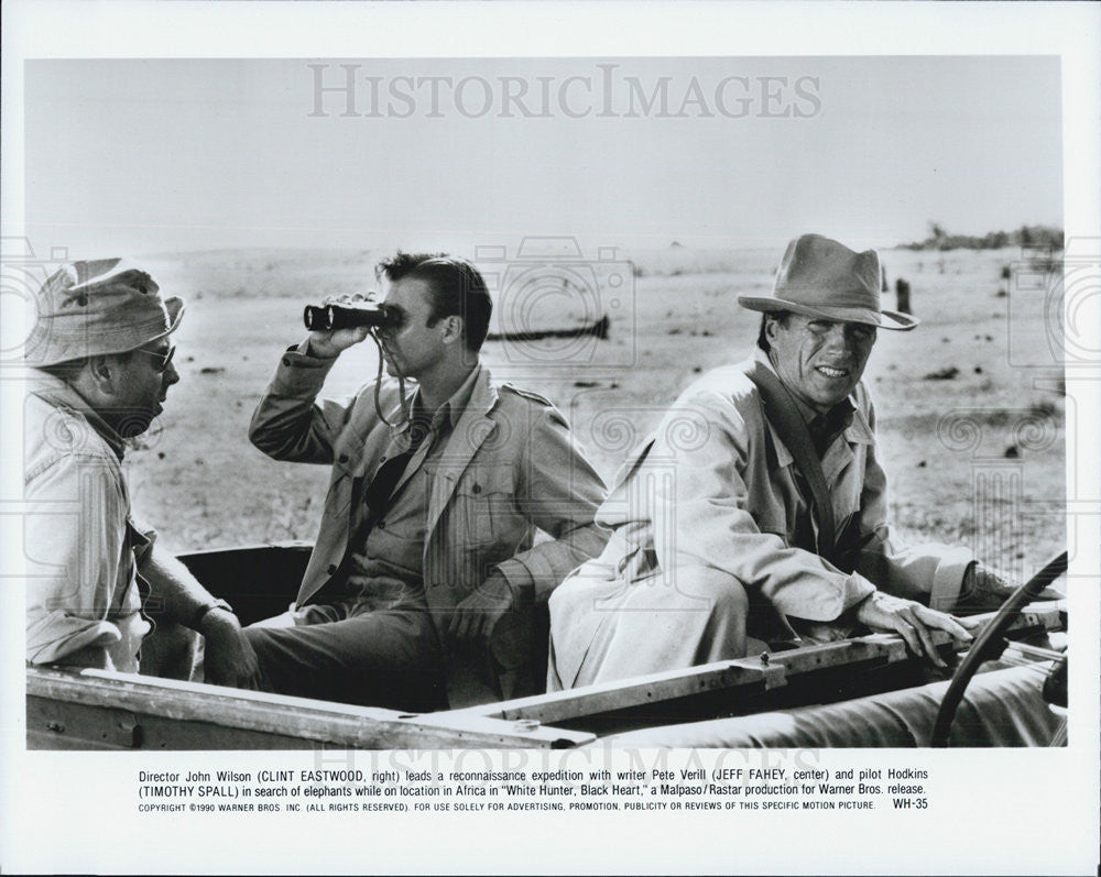"1990 Press Photo Clint Eastwood Jeff Fahey ""White Hunter Black Heart"" - Historic Images"