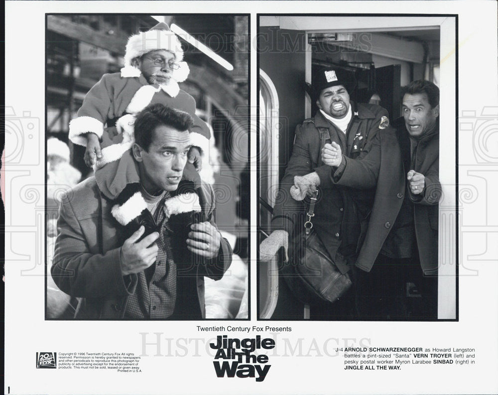 "1996 Press Photo Arnold Schwarzenegger Vern Troyer, Sinbad, ""Jingle All The Way"" - Historic Images"
