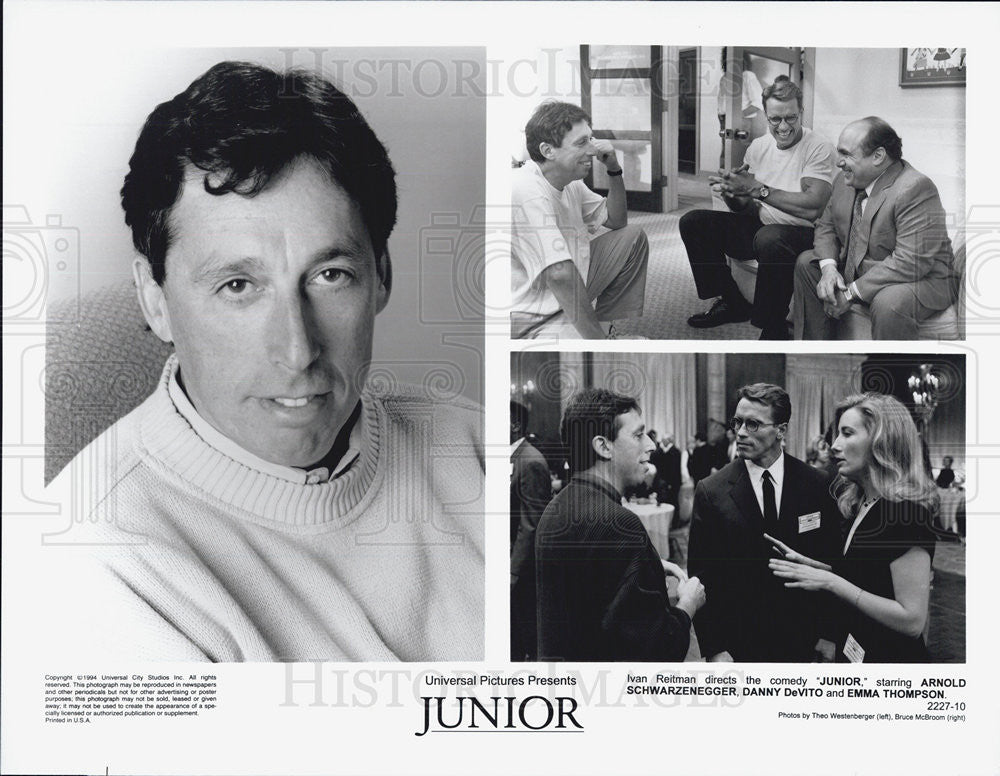 1994 Press Photo Junior Evan Reitman Arnold Schwarzenegger Emma Thompson - Historic Images