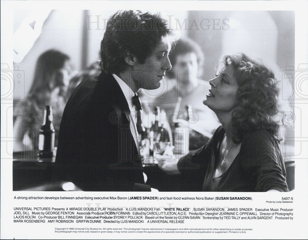"1990 Press Photo James Spader & Susan Sarandon in ""White Palace"" - Historic Images"