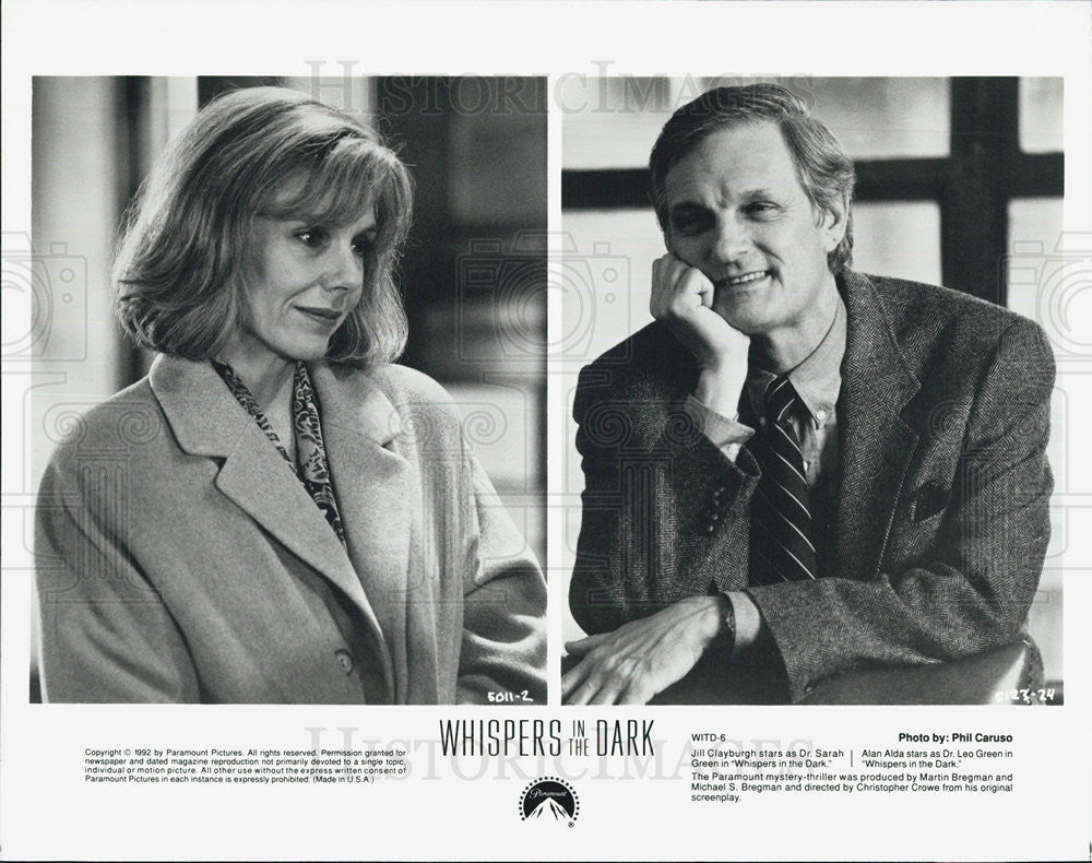 1992 Press Photo Jill Clayburgh Actress Alan Alda Actor Whispers In Dark Film - Historic Images