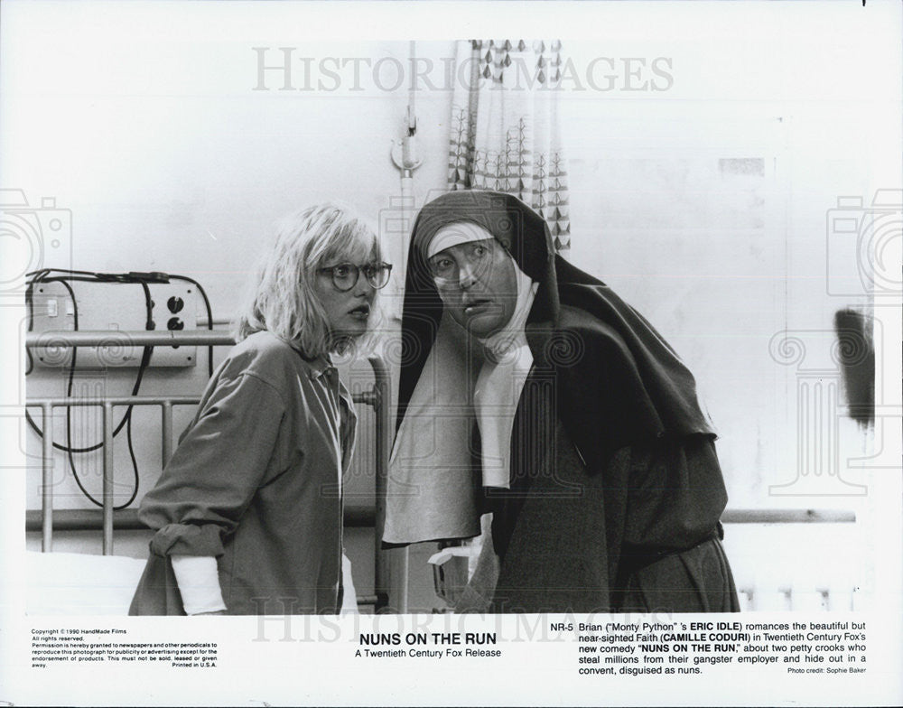 "1990 Press Photo Camille Coduri in ""Nuns on the Run"" - Historic Images"
