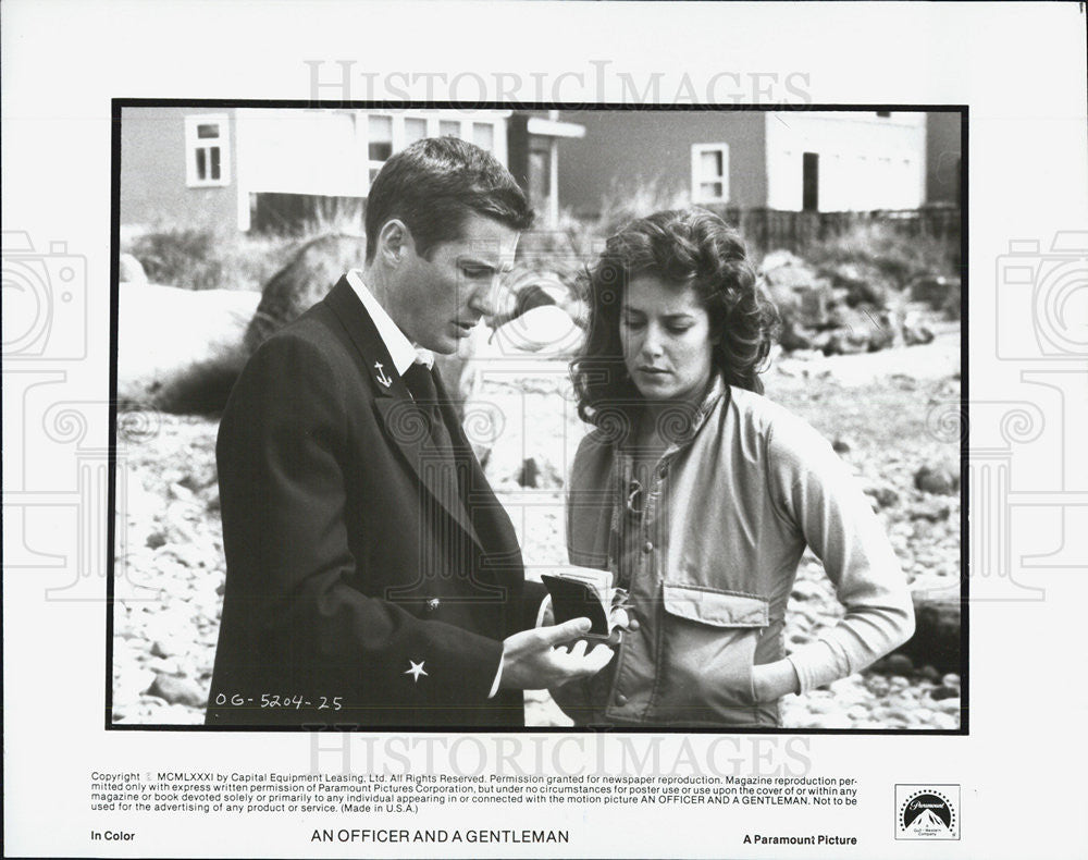1981 Press Photo Richard Gere and Debra Winger in An Officer and a Gentleman - Historic Images