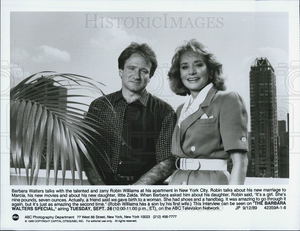 "1989 Press Photo Robin Williams in ""The Barbara Walters Special"" - Historic Images"