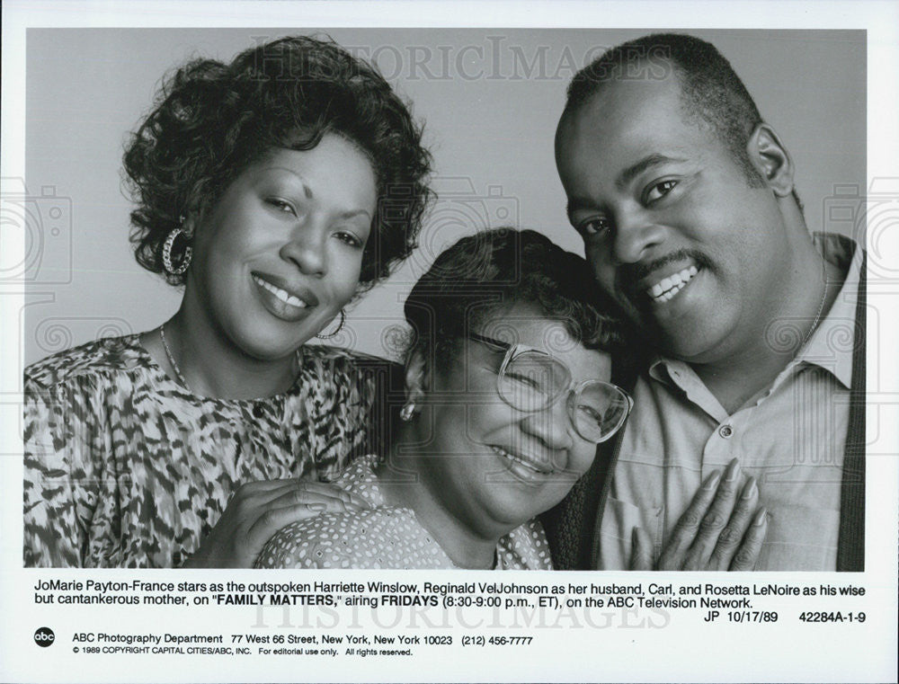 "1989 Press Photo Jo Marie France & Reginald VelJohnson on ""Family Matters"" - Historic Images"
