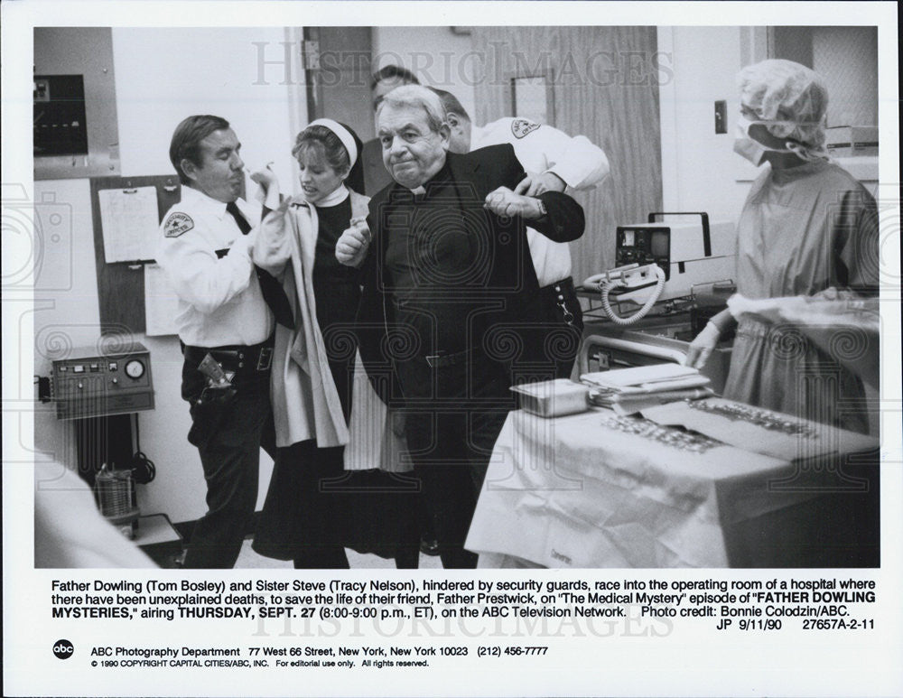 1990 Press Photo Tom Bosley and Tracy Nelson in Father Dowling Mysteries - Historic Images