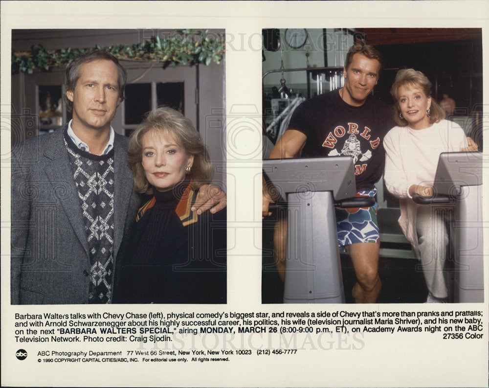 1990 Press Photo Barbara Walters,Chevy Chase,Arnold Schwarznegger - Historic Images