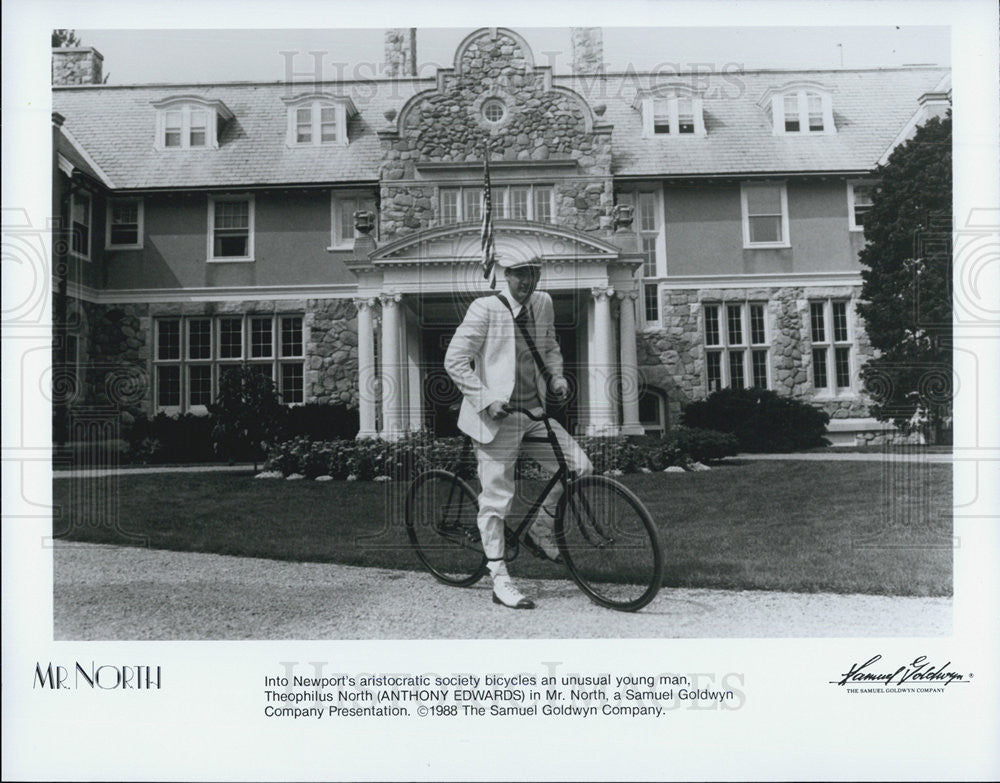 1988 Press Photo Anthony Edwards On Bike In Front Of Home In Mr North COPY - Historic Images