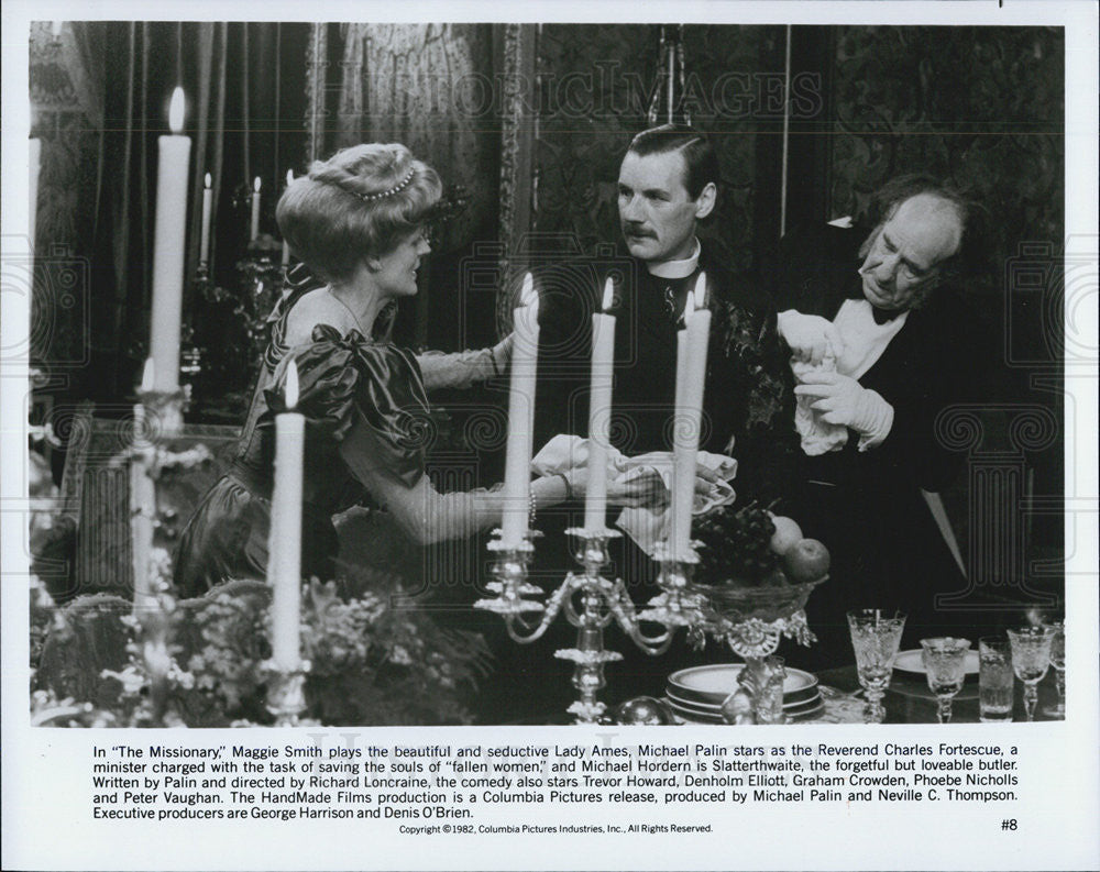 1982 Press Photo Maggie Smith, Michael Palin, Michael Hordern in The Missionary - Historic Images