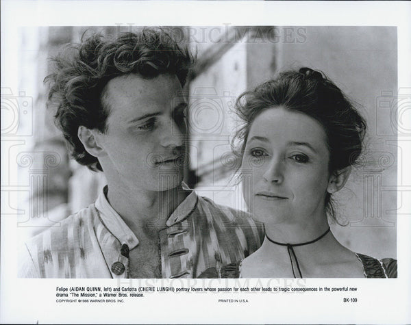 "1986 Press Photo Aidan Quinn an Cherie Lunghi star in ""The Mission"" - Historic Images"