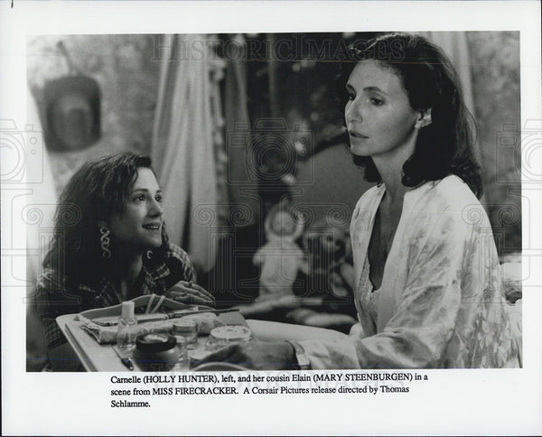 "1989 Press Photo Holly Hunter and Mary Steenburgen in ""Miss Firecracker"" - Historic Images"