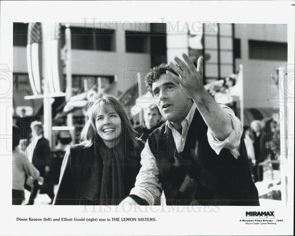 1990 Press Photo Actress Diane Keaton Actor Elliott Gould - Historic Images