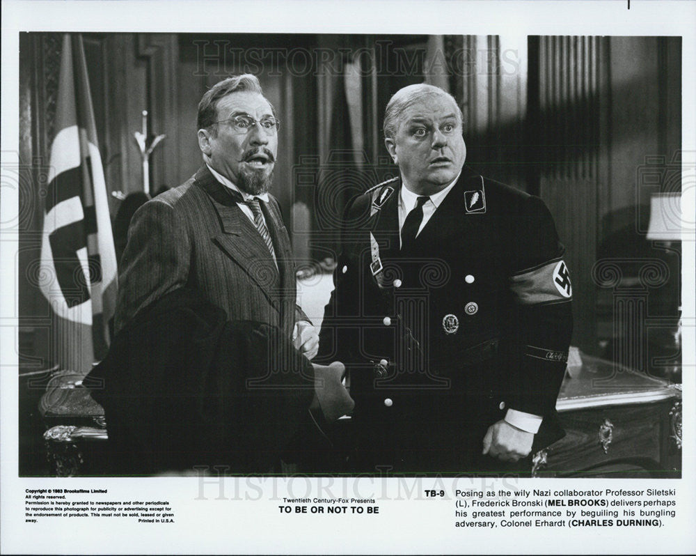 "1983 Press Photo Mel Brooks & Charles Durning in ""To Be or Not To Be"" - Historic Images"