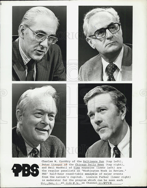1969Press Photo Lincoln Furbur Moderator, Charles W. Corddry, Peter Lisagor Neil - Historic Images