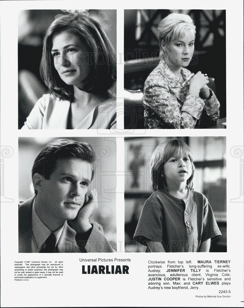 1997 Press Photo Film LiarLiar Maura Tierney Jennifer Tilly Justin Cooper - Historic Images