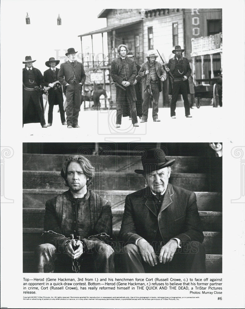 "1995 Press Photo Gene Hackman and Russell Crowe star in ""The Quick and the Dead"" - Historic Images"