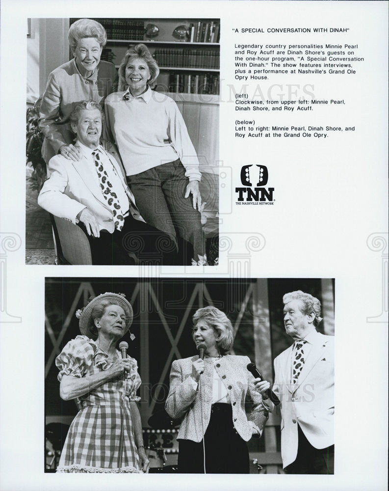 1976 Press Photo Host Dinah Shore  & Minnie Pearl,Roy Acuff, at Grand Ol Opry - Historic Images