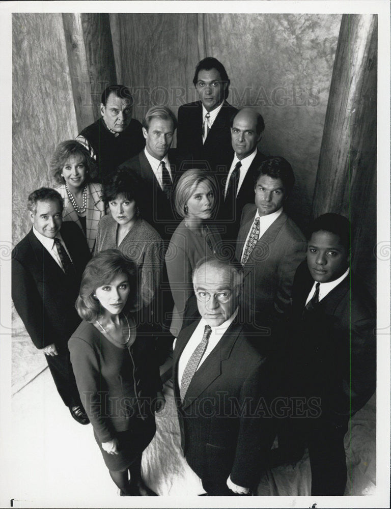 1990 Press Photo L.A. Law Blair Underwood Richard Dysart Michele Greene Harry - Historic Images