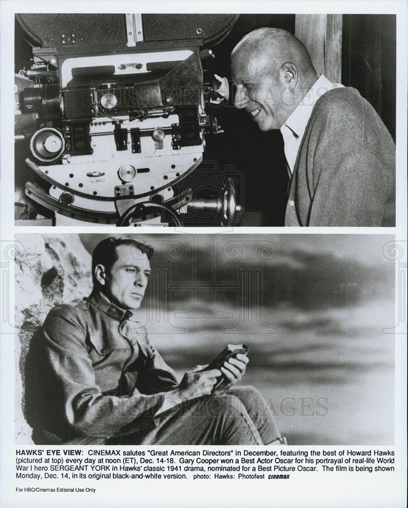 "Press Photo Director howard Hawks and Gary Cooper in ""Sergeant Yory"" - Historic Images"