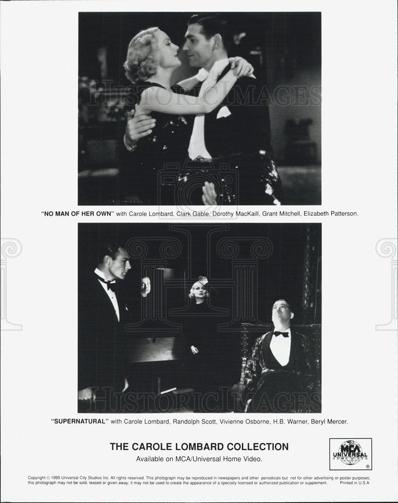 1995 Press Photo No Man of Her Own, Supernatural, The Carole Lombard Collection - Historic Images