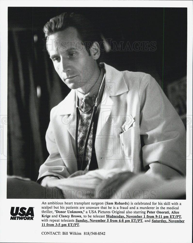"1995 Press Photo Sam Robards in ""Donor Unknown"" - Historic Images"