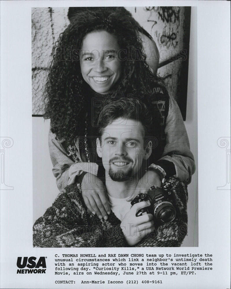 "1990 Press Photo C Thomas Howell & Rae Dawn Chong in ""Curiosity Kills"" - Historic Images"