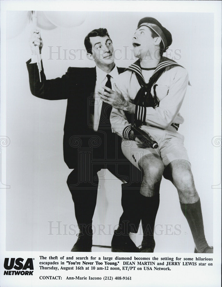 "1955 Press Photo Dean Martin and Jerry Lewis in ""You're Never Too Young"" - Historic Images"