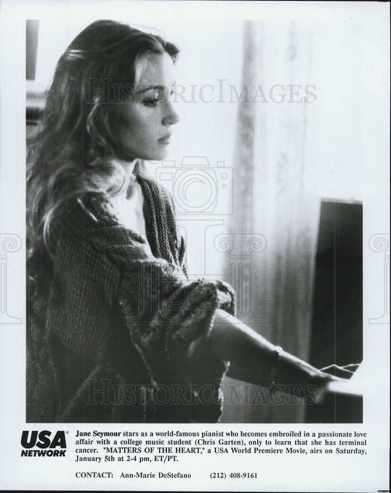 1990 Press Photo Film Matters of the Heart Jane Seymour Chris Garten - Historic Images