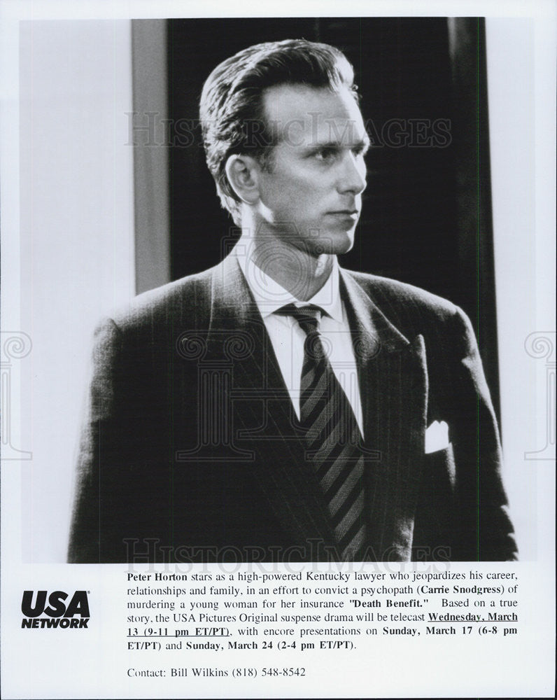 "1996 Press Photo Peter Horton in  ""Death Benefit"" - Historic Images"