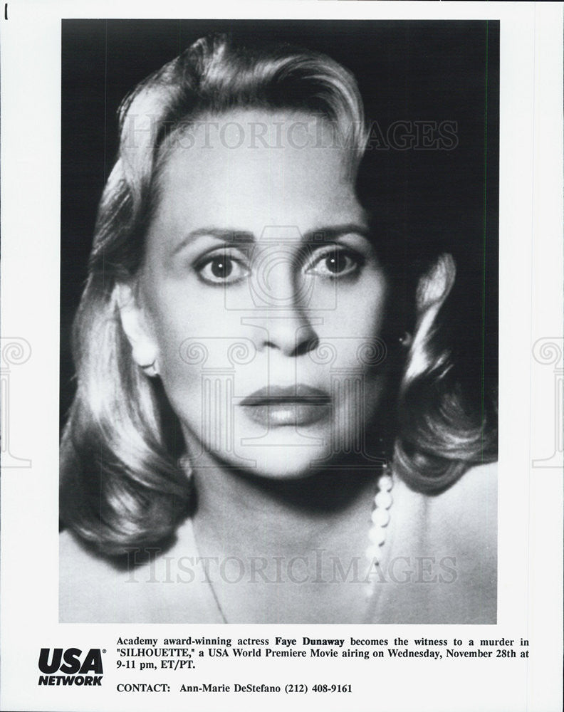 "1990 Press Photo Faye Dunaway in ""Silhoutte"" - Historic Images"