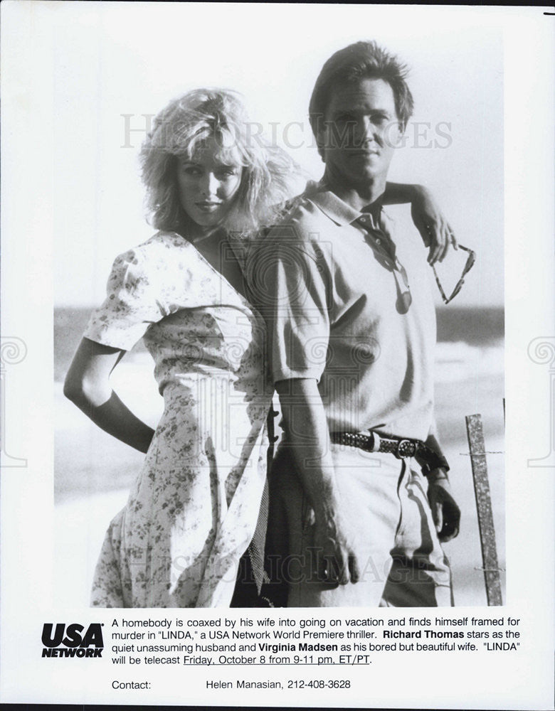 "Press Photo Richard Thomas, Virginia Madsen in ""Linda"" - Historic Images"