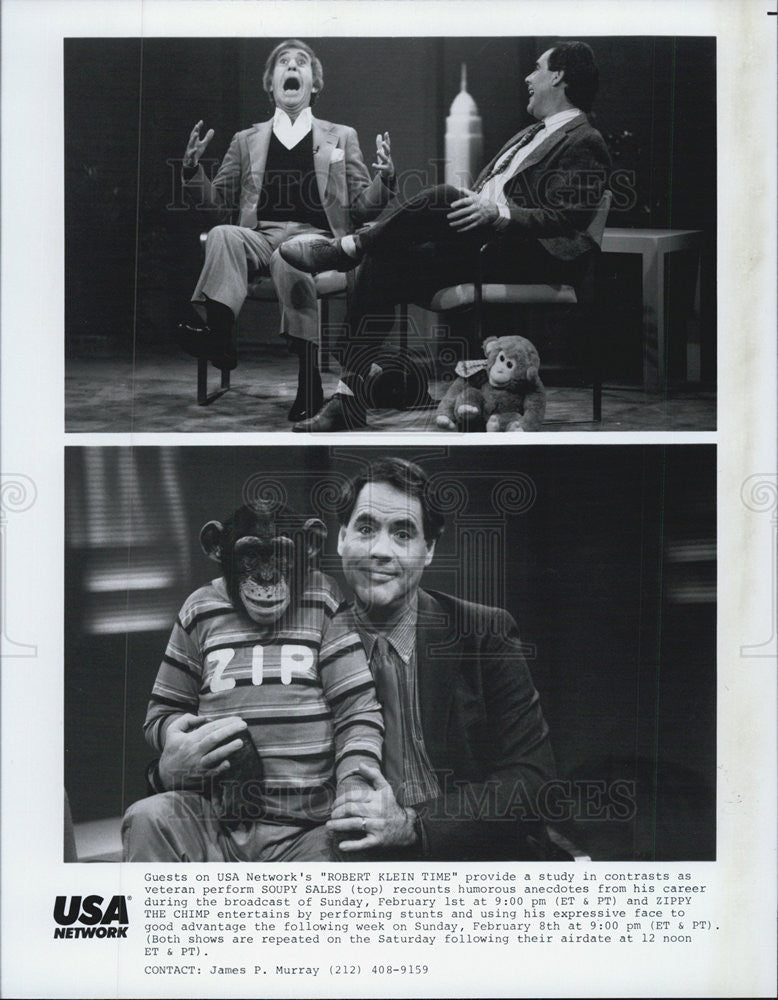 "1977 Press Photo Zippy the Chimp in ""Robert Klein Time."" - Historic Images"