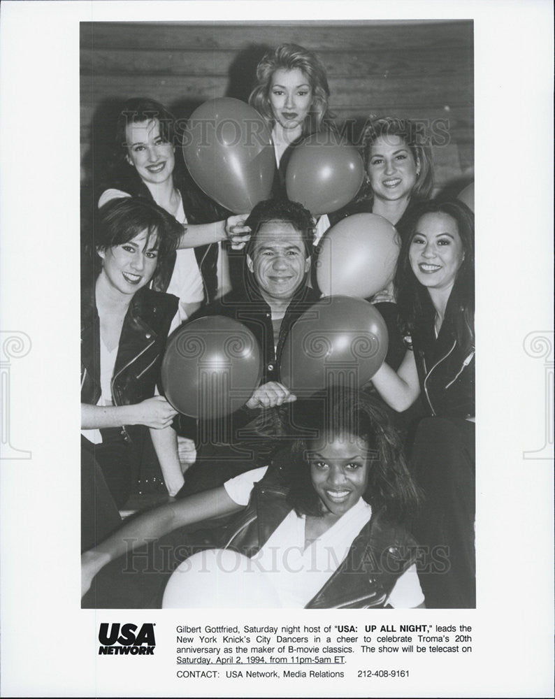 Press Photo Gilbert Gottfried, New York Knicks City Dancers USA Up All Night - Historic Images