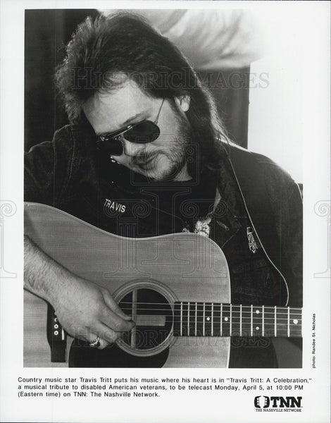 "1990 Press Photo Travis Tritt on "" Travis Tritt"" A Celebration"" on TNN. - Historic Images"