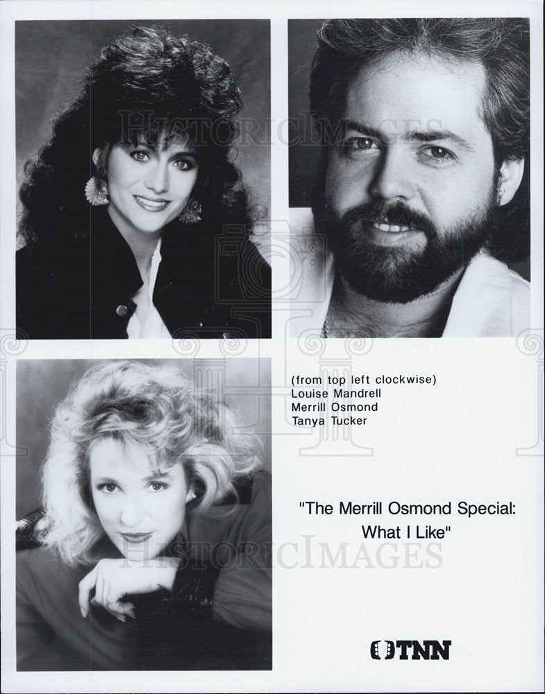 "1990 Press Photo Louise Mandrell, Merrill Osmond & Tanya Tucker on ""The Merrill - Historic Images"
