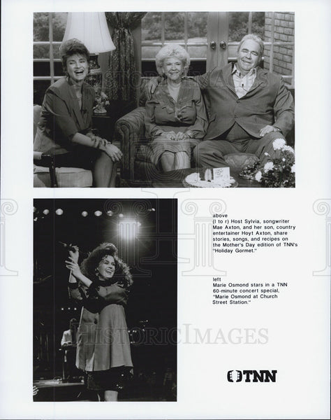 1990 Press Photo Marie Osmond, Mae Axton, Hoyt Aston on TNN. - Historic Images
