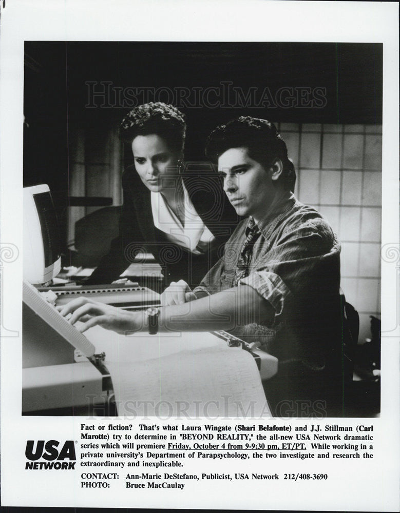 "1991 Press Photo Carl Marotte & Shari Belafonte on ""Beyond Reality"" - Historic Images"