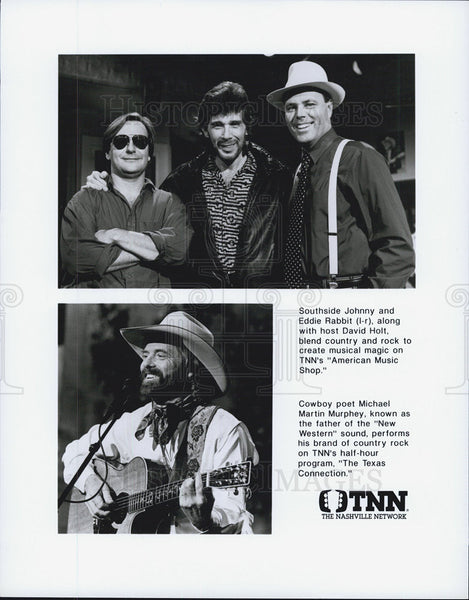 1990 Press Photo Southside Johnny, Eddie Rabbit, Michael Martin Murphey on - Historic Images