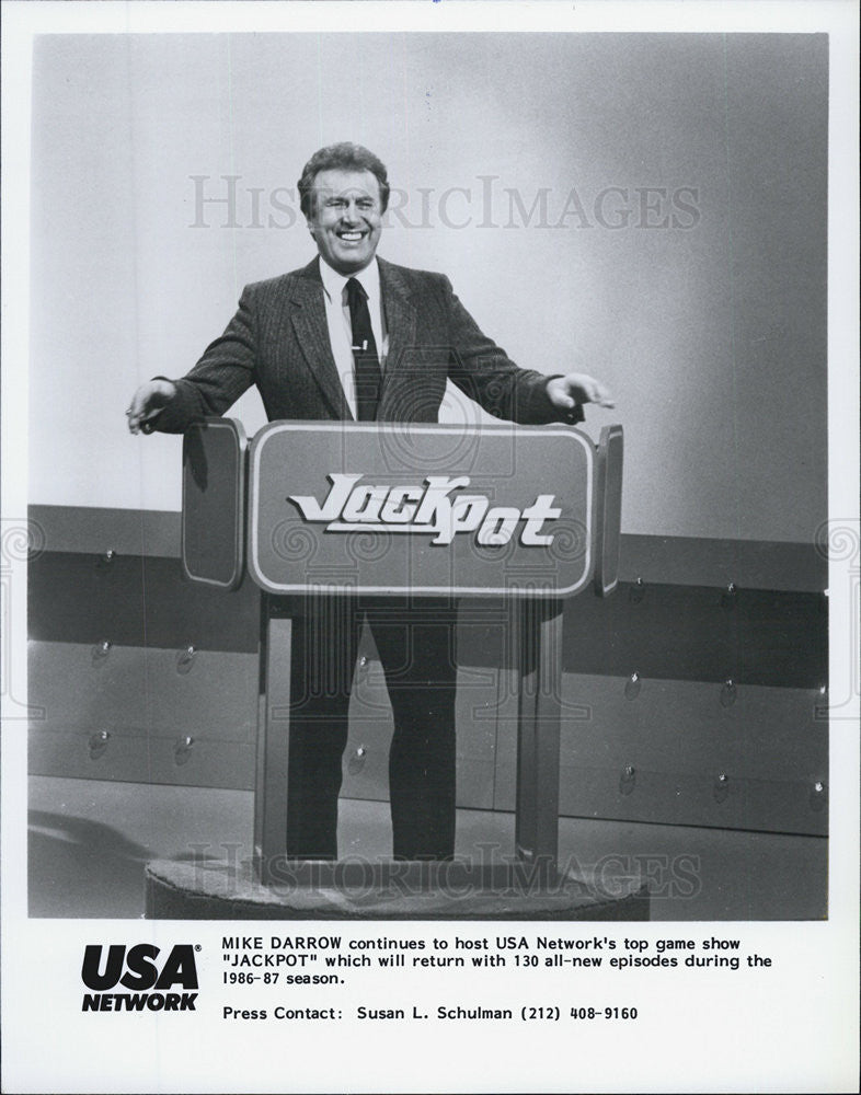 "1986 Press Photo Mike Darrow host ""Jackpot"" on USA network. - Historic Images"