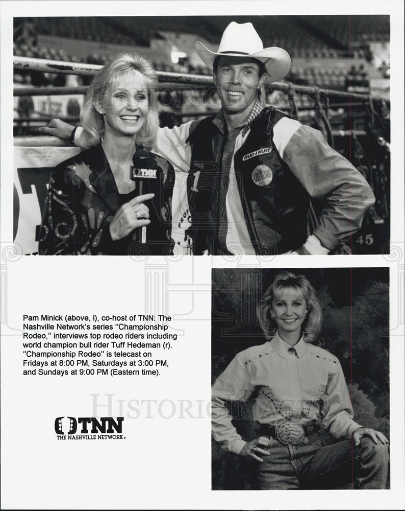 "1980 Press Photo Pam Minick & Tuff Hedeman on ""Championship Rodeo""TNN - Historic Images"