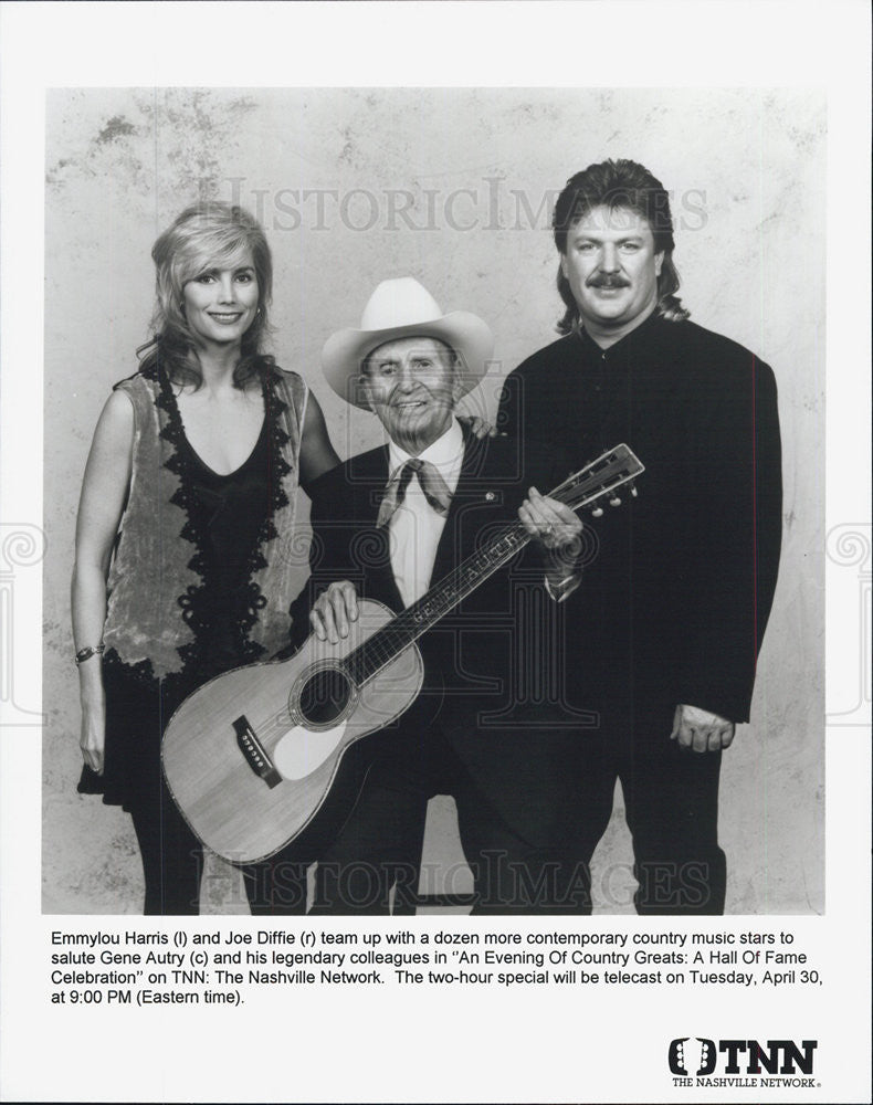 Press Photo Emmylou Harris, Joe Diffie, Gene Autry - Historic Images