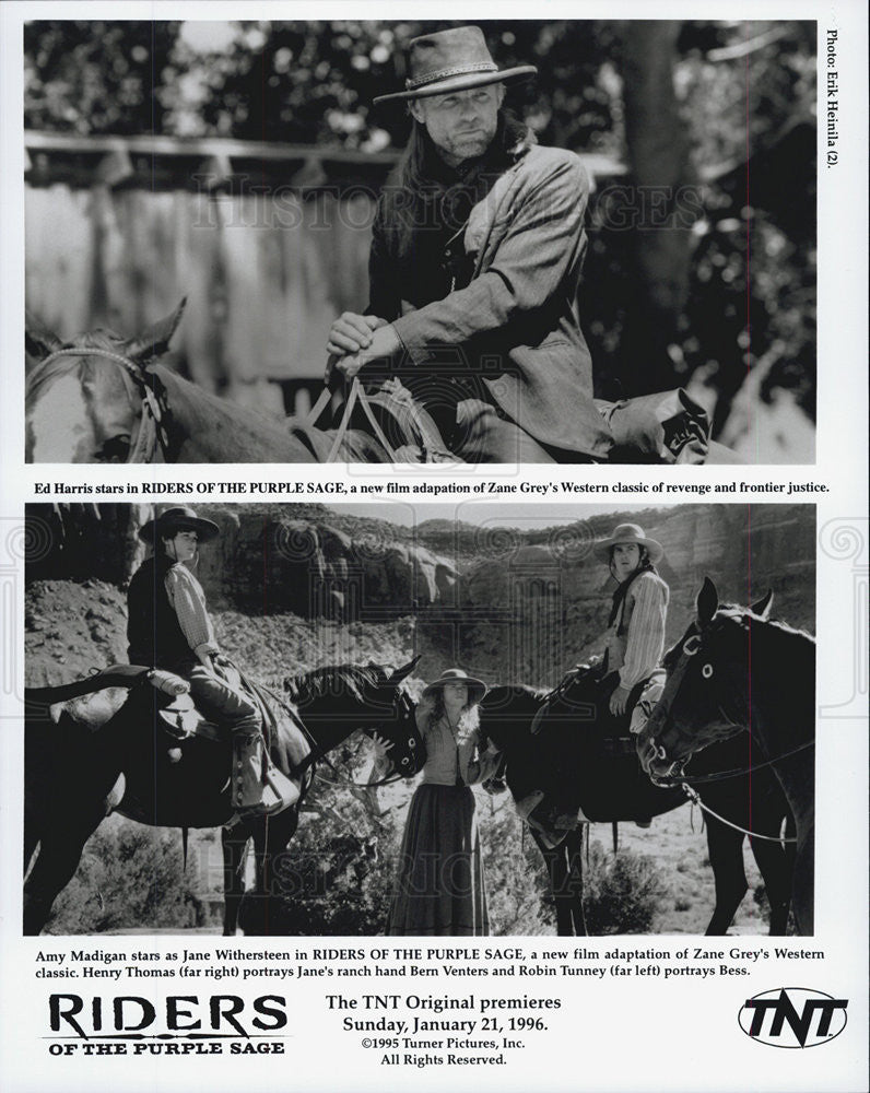 1996 Press Photo Amy Madigan Riders Of The Purple Sage Ed Harris Actor - Historic Images