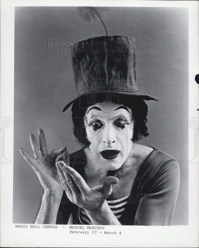 Press Photo Marcel Marceau Music Hall Center Mime Act - Historic Images