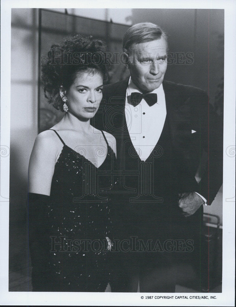 1987 Press Photo Bianca Jagger Devil's Advocate Film Charlton Heston - Historic Images