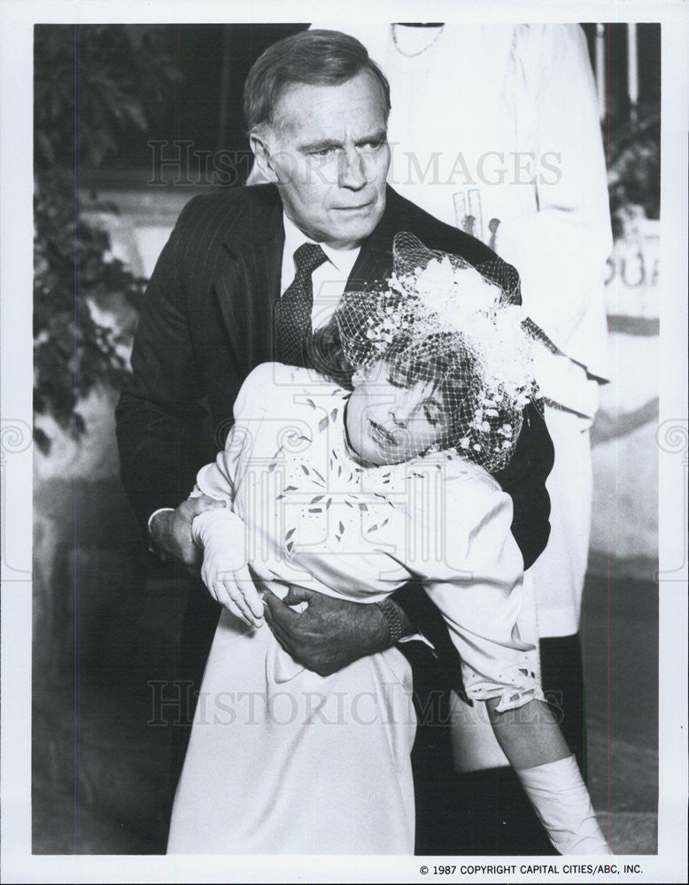 1987 Press Photo Charlton Heston and Katherine Ross in The Colbys - Historic Images