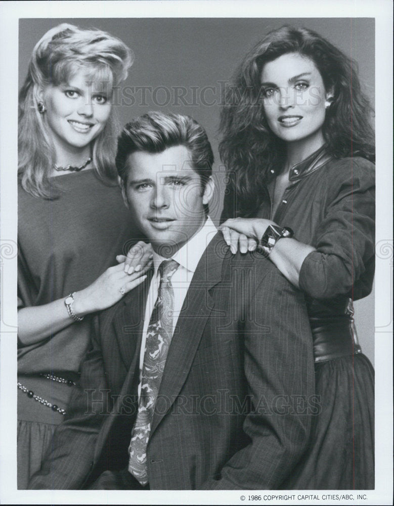 1986 Press Photo Claire Yarlett Maxwell Caulfield Tracy Scoggins The Colbys Show - Historic Images