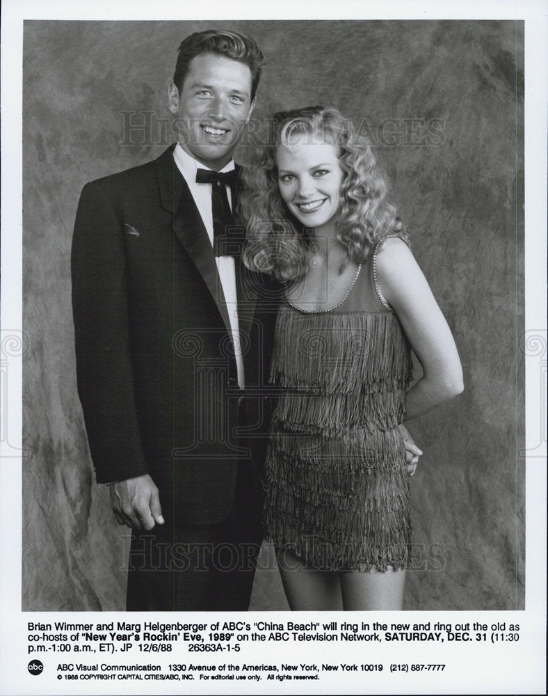 1988 Press Photo Brian Wimmer and Marg Helgenberger on New Years Rockin Eve 1989 - Historic Images