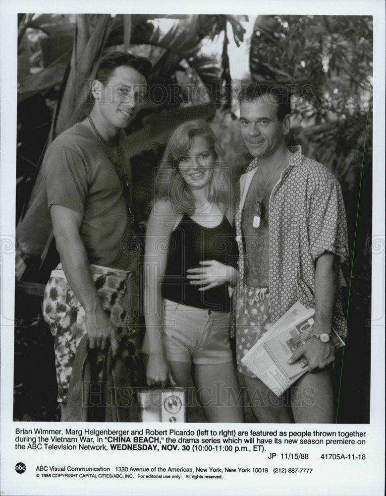 "1988 Press Photo ""China Beach"" Marg Helgenberger,Robert Picardo,Brian Wimmer - Historic Images"