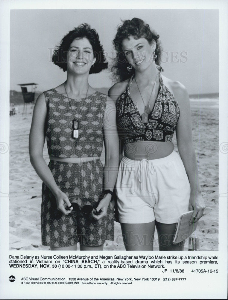 "1988 Press Photo Dana Delany & Megan Gallagher on ""China Beach"" - Historic Images"