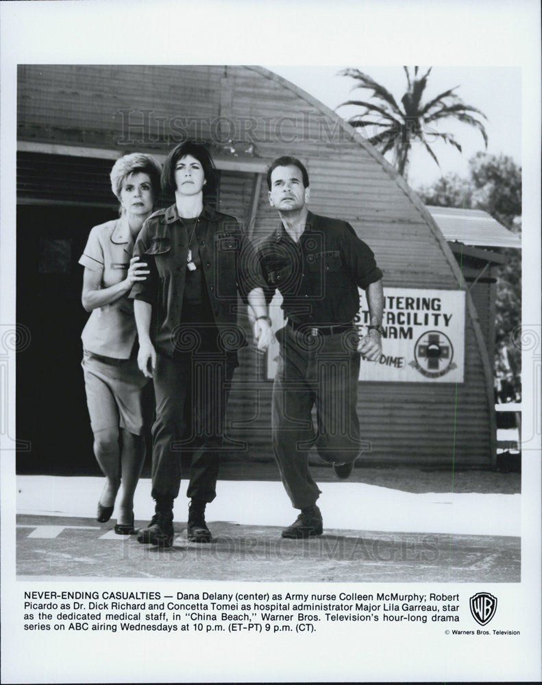 "1988 Press Photo ""China Beach"" Dana Delany,Robert Picardo,Concetta Tomei - Historic Images"